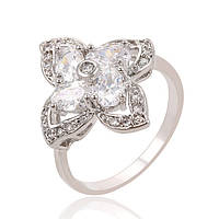 Кольцо 13658 размер 18, белые камни, позолота Белое Золото, фото 1