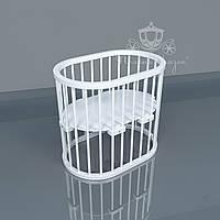 Овальная кроватка Luxbed Ольха, белая.