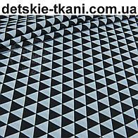 Бязь польская c черными треугольниками (размером 3 см), №938