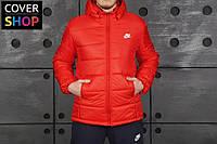 Куртка мужская в стиле Nike, цвет - красный, материал - полиэстер, наполнитель - холлофайбер. код AA-0023
