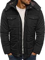 Мужская зимняя стёганая куртка с капюшоном и заплатками №1