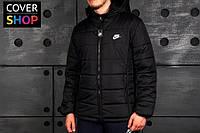 Спортивная куртка Nike, цвет - черный, материал - полиэстер, наполнитель - холлофайбер, подкладка - флис