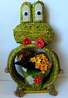 Кашпо жаба в ситі зелена 20*10*45 Кашпо лягушка в сите зеленая