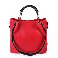 Красная сумка М131-68/47 женская матовая оригинальный шоппер с черными вставками, фото 1