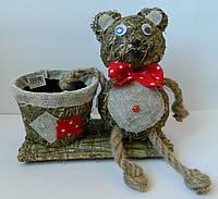 Кашпо ведмыдь коричневий 20*10*21 Кашпо медведь коричневый
