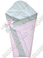 Зимний конверт одеяло на выписку для новорожденного Розовый горох