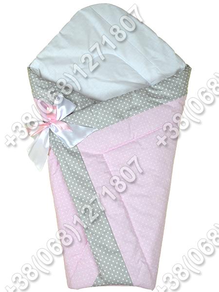Зимний конверт на выписку Горошек розовый
