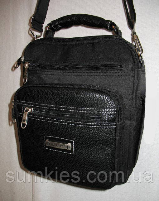 92dc95568dec Мужская сумка Wallaby854 черная барсетка через плечо 27х23х12см, ...