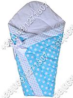 Зимний конверт одеяло на выписку для новорожденного Бирюзовый горох