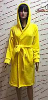 Женские махровые халаты однотонн с капюшоном