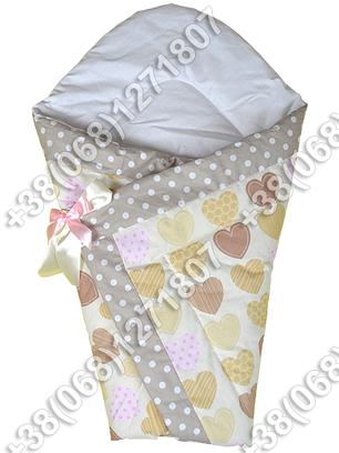 Зимний конверт одеяло на выписку для новорожденного Бежевые сердца, фото 2