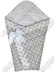 Зимний конверт на выписку Звездочки серые