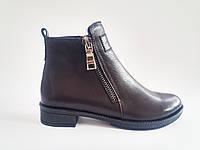 Кожаные коричневые ботинки женские демисезонные Prellesta 701