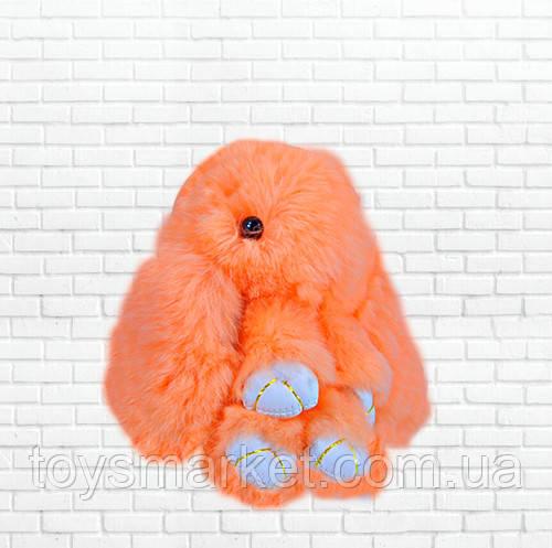 Детская мягкая игрушка,зайка,пушистый брелок,оранжевый