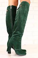 Зимние женские сапоги-ботфорты, замшевые, евро-зима, изумрудные, на высоком устойчивом каблуке