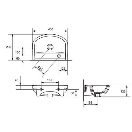 Умывальник мебельный  ARTECO 40 с/о  левый, фото 2