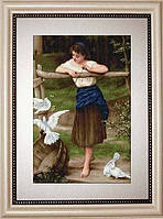 """Набір для вишивання хрестиком """" Дівчина дражнить голубів """""""