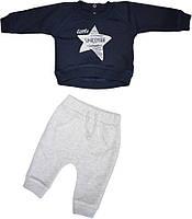 Костюм ясельный хлопковый на мальчика (реглан+штаны) тёмно-синий с серым, размер 68 74 80