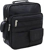 Мужская сумка через плечо Комерсант папка портфель для документов А4 б23870 черная жатка 35х29х15см