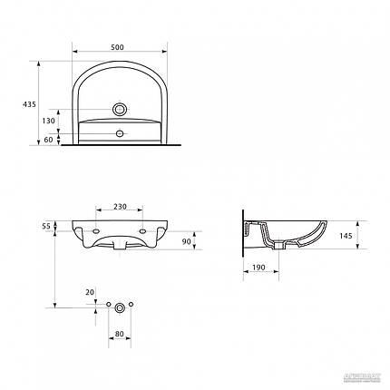 Умывальник мебельный  ARTECO 50 с/о , фото 2