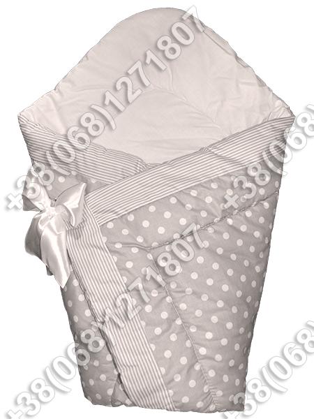 Зимний конверт на выписку Горошек серый