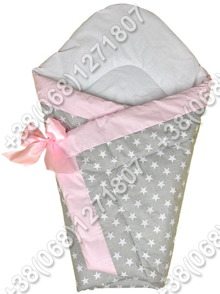 Зимний конверт на выписку Звездочки серо-розовые
