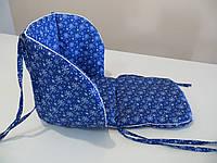 Матрасик в санки синий снежинки
