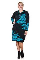 Теплое платье вязка большого размера Orhideya  черный/бирюза (46-56)