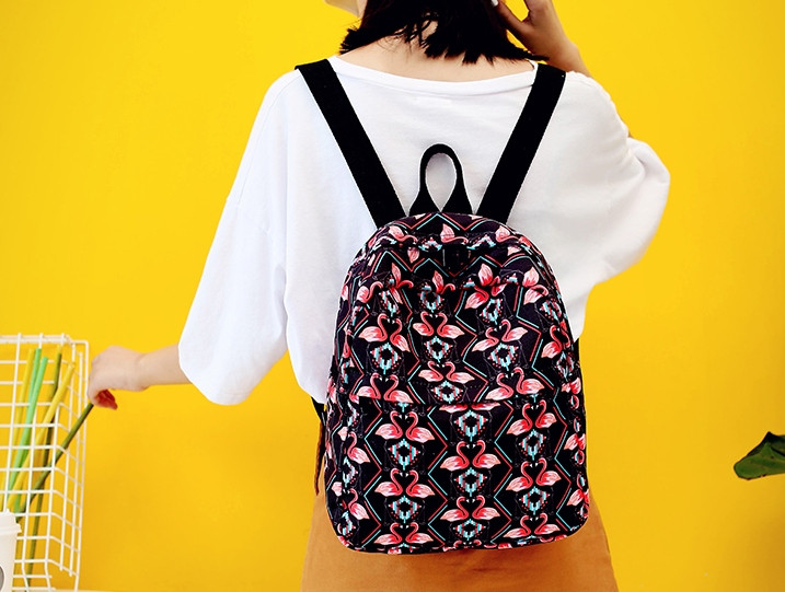 e830a344c857 Черный модный рюкзак с фламинго - Интернет-магазин