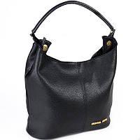 Черная сумка М129-47 мешок с ручкой женский шоппер мягкий овальной формы на плечо