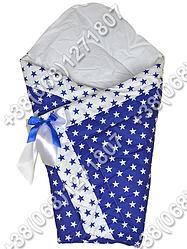 Демисезонный конверт одеяло на выписку для новорожденного Синие звезды
