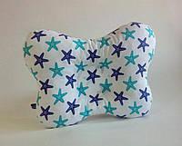 """Детская ортопедическая подушка для лечения и профилактики кривошеи у младенцев """"Морские звезды бирюзовые"""""""