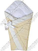 Демисезонный конверт одеяло на выписку для новорожденного Бежевый горох