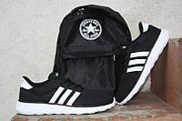 Кроссовки Adidas NEO\Адидас НЕО, черные, белая подошва, КТ11139