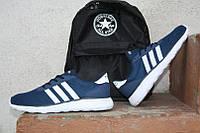 Кроссовки Adidas NEO\Адидас НЕО, сине-черные, белая подошва, КТ11140