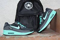 Кроссовки Nike Air Max, черно-бирюзовые, КТ11146