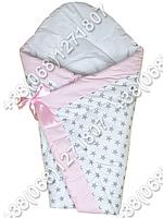 Зимний конверт одеяло на выписку для новорожденного Белые звезды