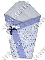 Зимний конверт одеяло на выписку для новорожденного Белый якорь