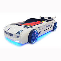 """Кровать Машинка с подсветкой """"Roadster full"""" с кожаным салоном ( белый) звуковая"""