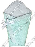 Зимний конверт одеяло на выписку для новорожденного Салатовый горох