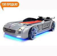 """Кровать в виде машины с подсветкой """"Roadster silver"""" ( металик)"""