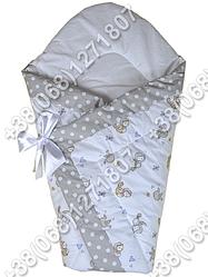 Зимний конверт одеяло на выписку для новорожденного Птички