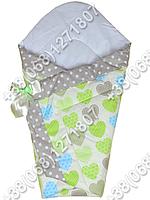 Зимний конверт одеяло на выписку для новорожденного Салатовые сердца