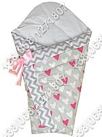Зимний конверт одеяло на выписку для новорожденного Малиновые сердца