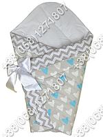 Зимний конверт одеяло на выписку для новорожденного Бирюзовые сердца