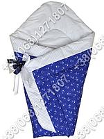 Зимний конверт одеяло на выписку для новорожденного Синий якорь