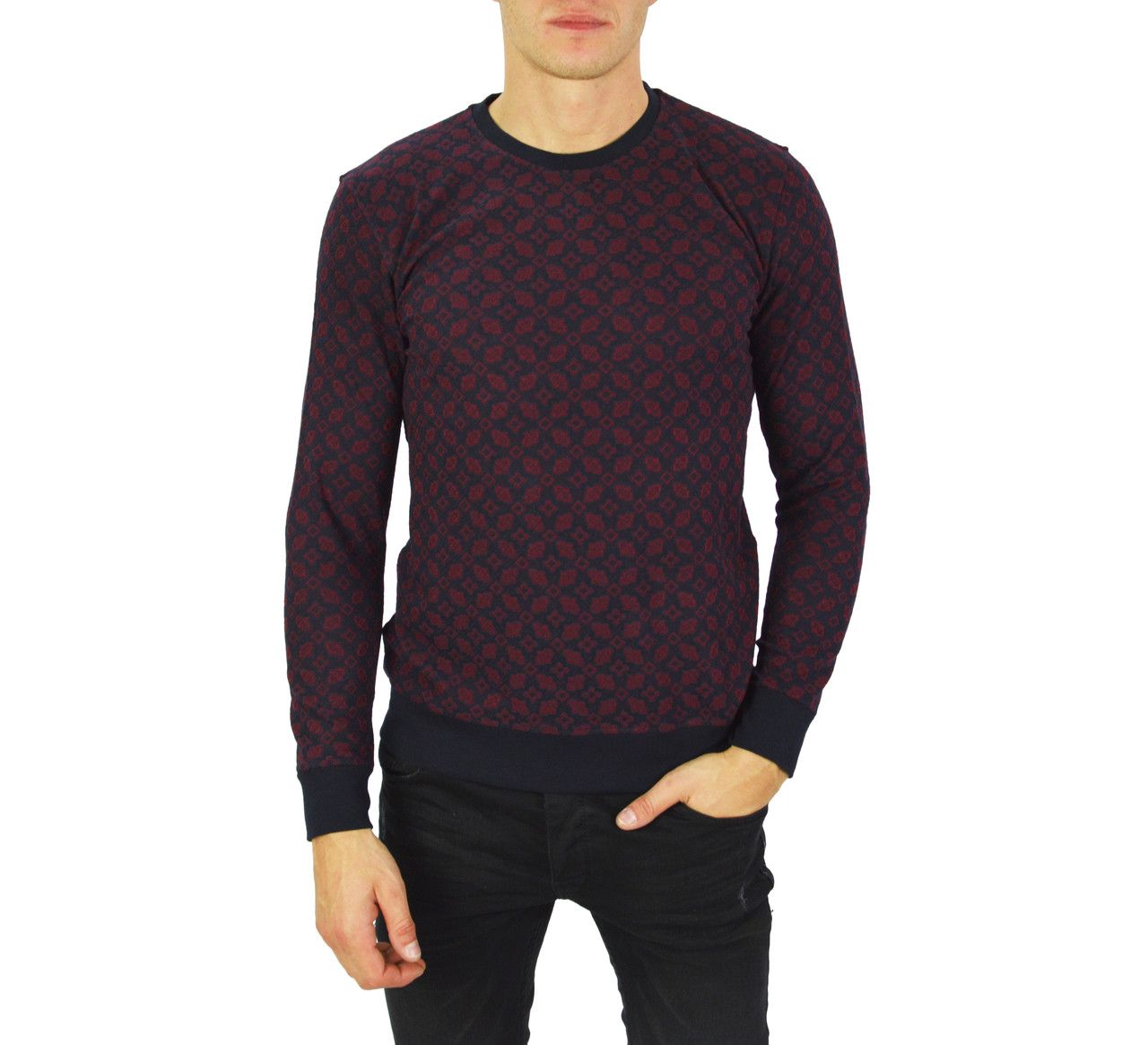 Бордовый свитер мужской, джемпер тонкий FODIL'S