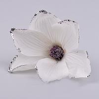 Головка магнолии в блестках белая  Цветы искусственные