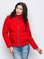 Модная красная курточка с карманами р.42,44,46,48,50,52