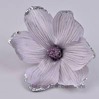 Головка магнолии в блестках дымчато-сиреневая  Цветы искусственные